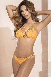 Tuscany Yellow Peek-A-Boo Bra Set