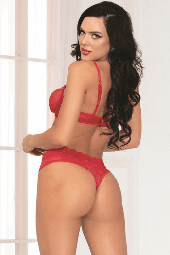 Two of Hearts Red Lace Open Cup Bra Set