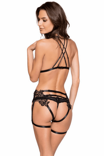 Two Piece Open Bust Cage Set