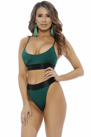 Two Toned High Waist Bikini Set