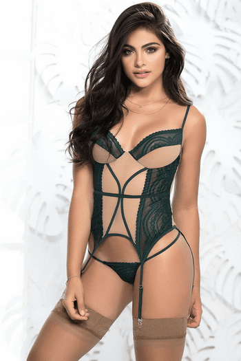 Two Toned Lace Bustier Set