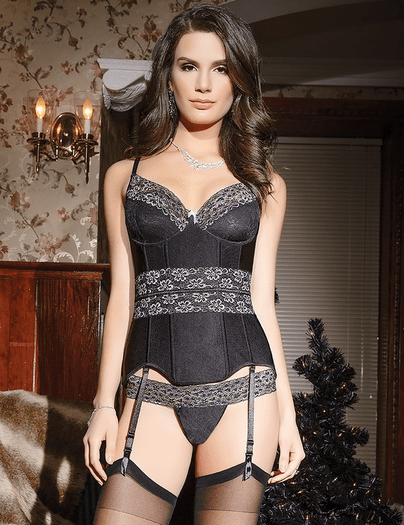 Ultimate Power Black Garter Bustier