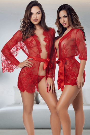Undress Me Lace Robe & G-String Set
