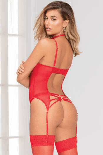 Let's Go Wild Red Lace Bustier & G-String