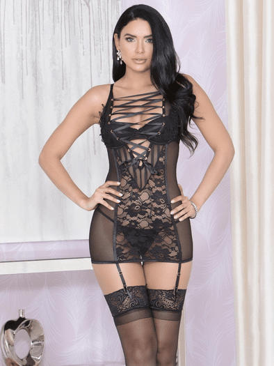Unravel Me Gartered Chemise & G-String Set