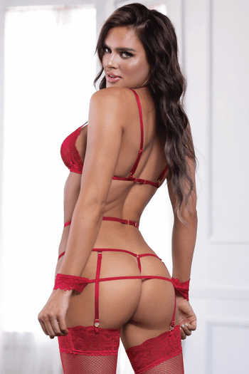 Untamed Desire Red Strappy Lace Teddy & Handcuffs