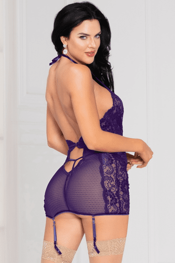 Untamed Purple Galloon Lace Chemise
