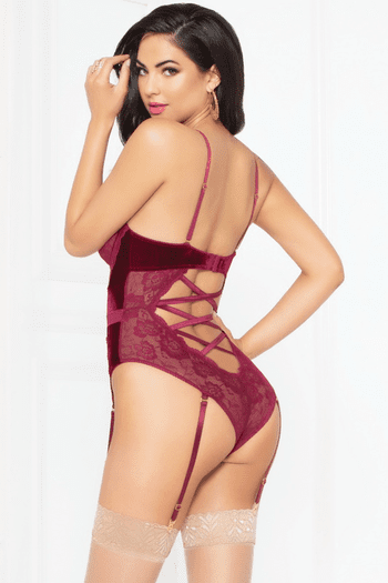 Velvet Lace Snap Crotch Teddy
