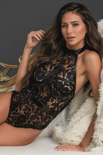 Venice Lace & Leather Teddy