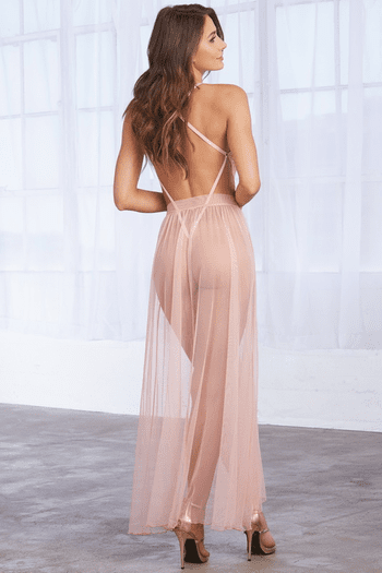 Vintage Rose Mosaic Stretch Lace Teddy & Sheer Mesh Maxi Skirt