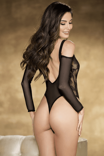 Vintage Stretch Lace & Mesh Long Sleeve Teddy
