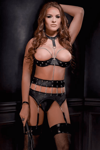 Vinyl Chained Shelf Bra & Garterbelt Set