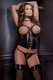 Vinyl Cupless Corset & G-String Set