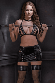 Vinyl Lace Up Bra & Skirt Set