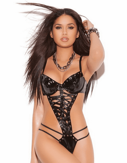 Vinyl Lace Up Strappy Teddy