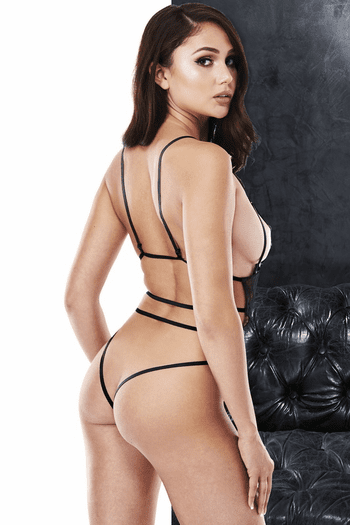 VIP Black Lace Cutout Strappy Teddy
