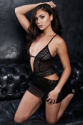 VIP Black Sexy Plunging Chemise & G-String Set