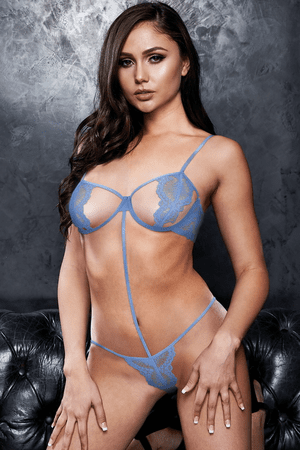 VIP Blue Lace Sexy Strappy Teddy