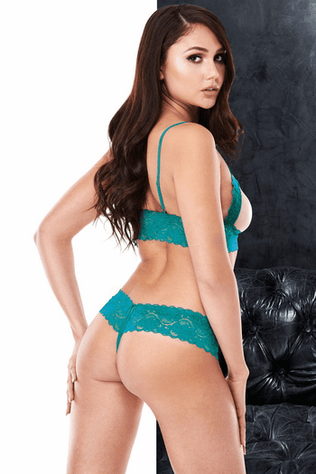 VIP Teal Lace Cupless & Crotchless Bra Set