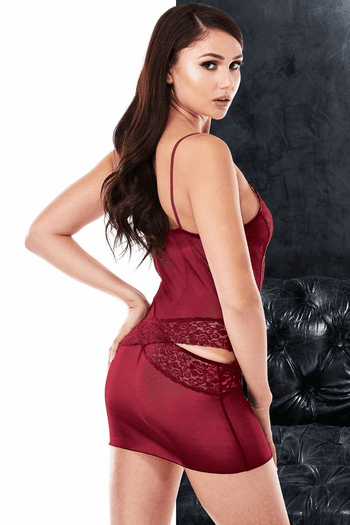 VIP Wine Sexy Plunging Chemise & G-String Set