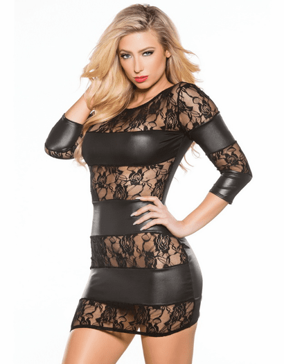 Wet Look Dirty Secrets Lace Mini Dress