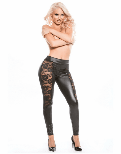 Wet Look Lace Leggings