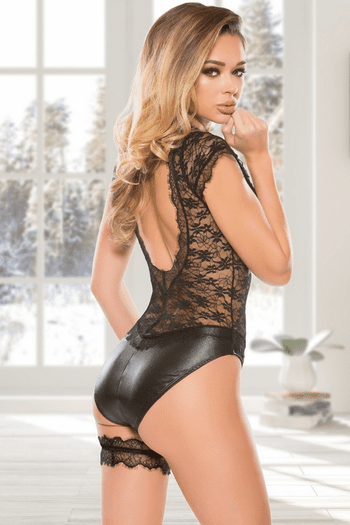 Wet Look Lace Teddy