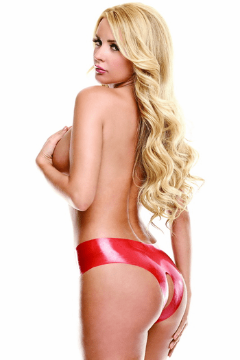 Wet Look Red Crotchless Panty