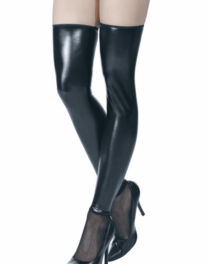 Wet Look Stockings With Zipper Back