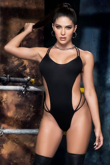 Wet Look Strappy Tie Back Teddy