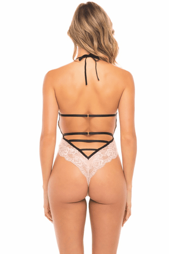 White & Black Willow Lace Teddy