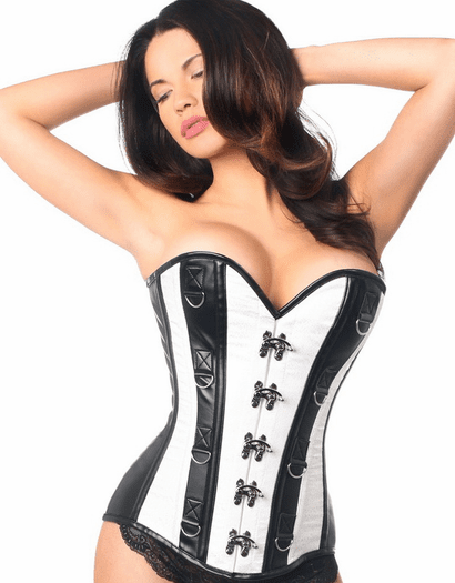 White Brocade Faux Leather Lace Up Corset