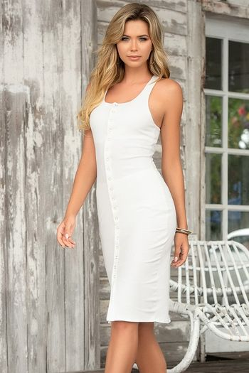White Button Down Dress & Panty Set