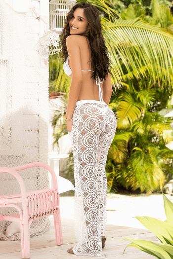 White Crochet Beach Pants