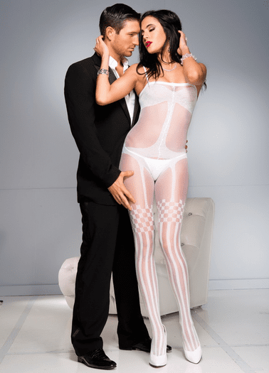 White Crotchless Faux Stocking Bodystocking