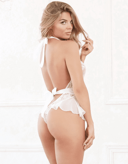 White Diamond Beautiful In White Crotchless Teddy