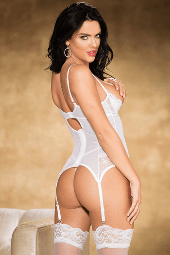 White Embroidery Shelf Cup Bustier