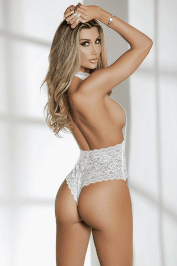 White Exquisite Lace Teddy