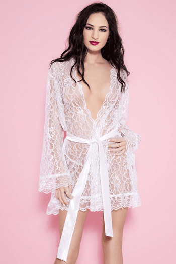 White Floral Lace Robe