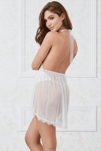 White Halter Plunge & Lace Fly-A-Way Skirted Teddy
