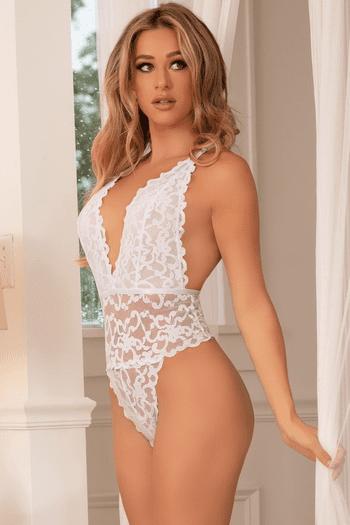 White Jeana Lace Multi Strap Teddy