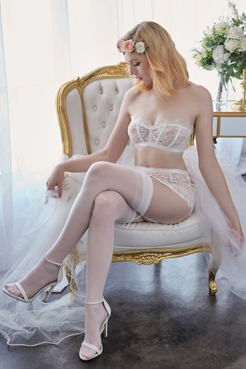 White Lace Balconette Bra & Skirt Set