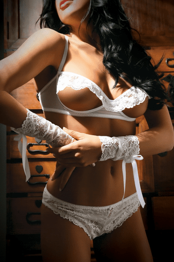 White Lace Bra, Panty & Arm Cuffs Set