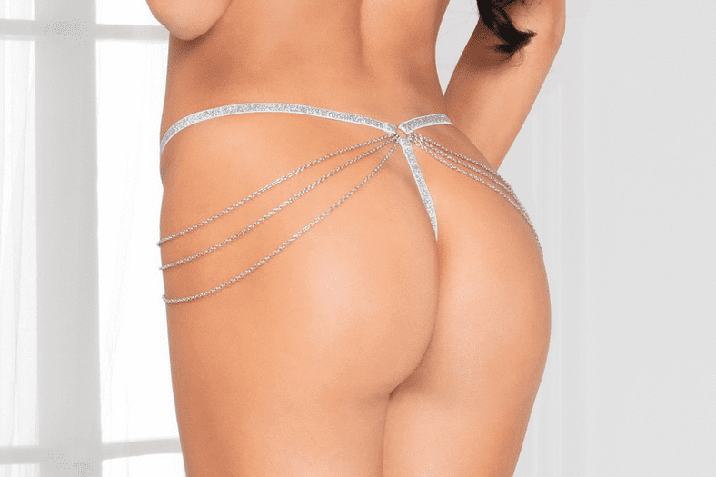 White Lace & Chain G-String