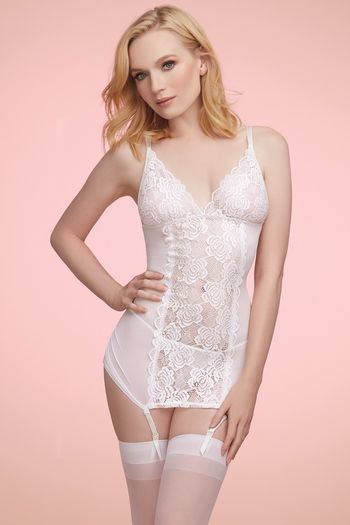 White Lace & Mesh Gartered Chemise
