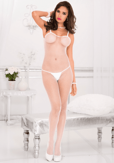 White Lace Up Crotchless Bodystocking