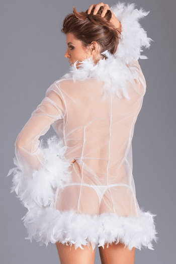 White Lux Feather Robe