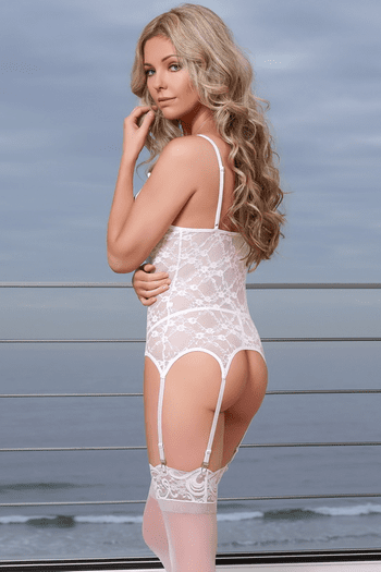 White Merry Widow & G-String Set