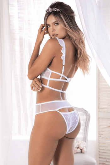 White Mesh Bra & Gartered Panty Set