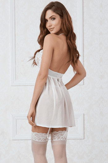 White Mesh & Venice Embroidery Lace Babydoll